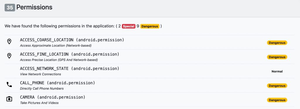 Exodus Privacy exemples de permissions