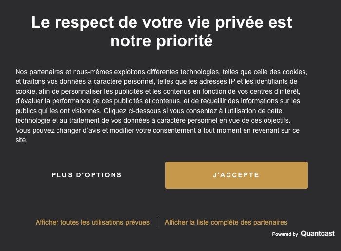 Le respect de notre vie privée est notre priorité