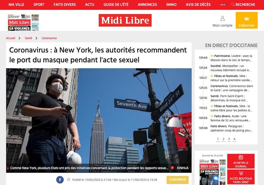 Coronavirus : à New York, les autorités recommandent le port du masque pendant l'acte sexuel