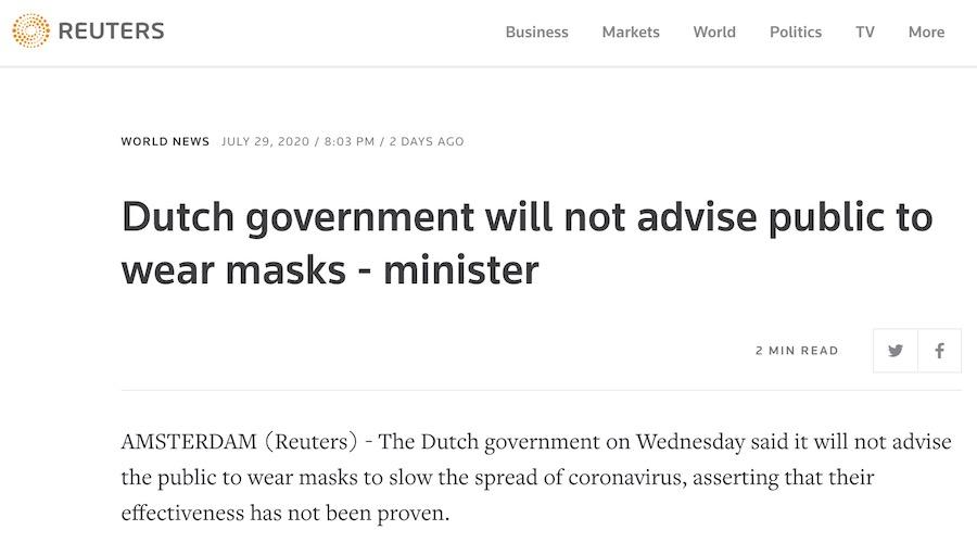 Le gouvernement néerlandais ne conseillera pas au public de porter des masques