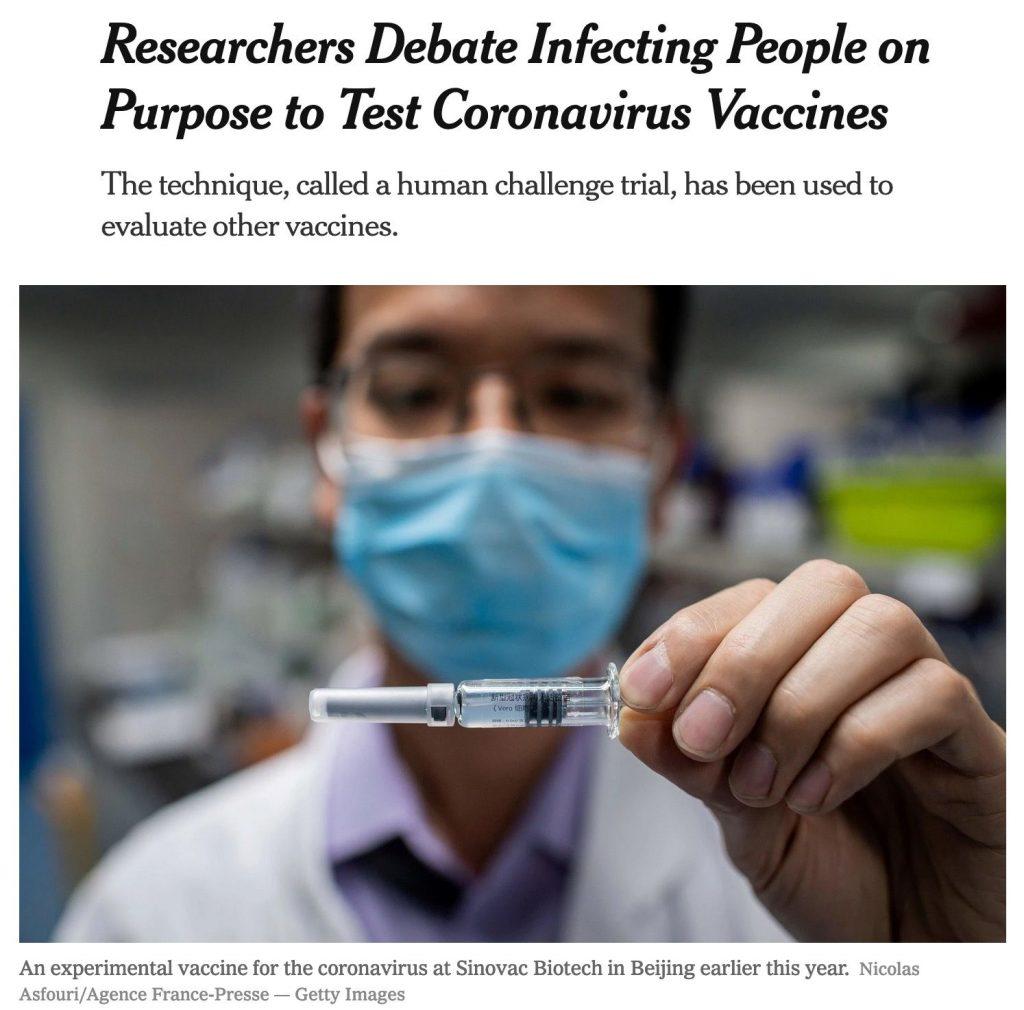Article du New York Times sur le vaccin contre le coronavirus