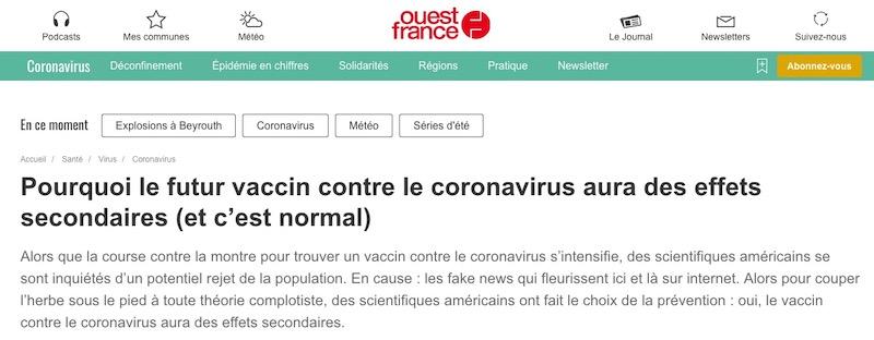 Pourquoi le futur vaccin contre le coronavirus aura des effets secondaires (et c'est normal)