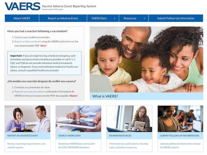 VAERS Vaccine Adverse Event Reporting System