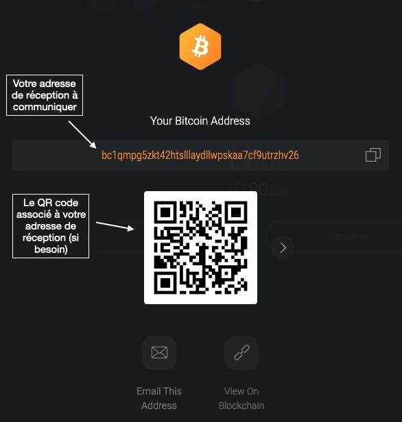 Recevoir des Bitcoins avec Exodus