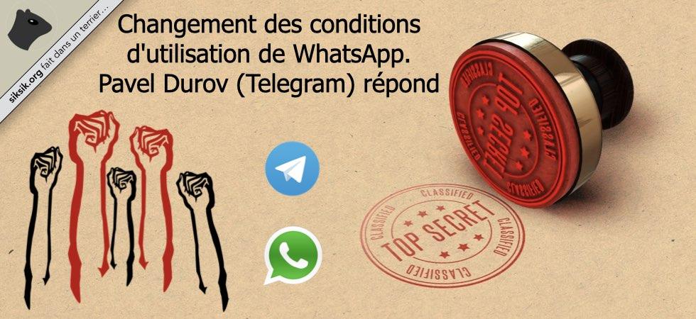 Message du fondateur de Telegram au sujet de WhatsApp et Facebook