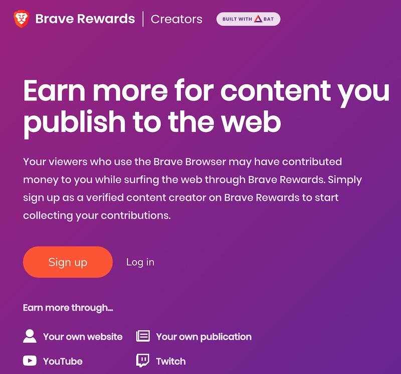 Brave Reward Creators